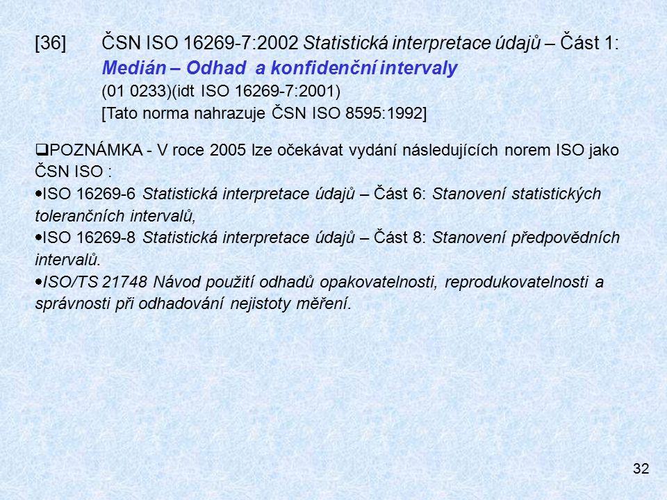 [36]. ČSN ISO 16269-7:2002 Statistická interpretace údajů – Část 1: